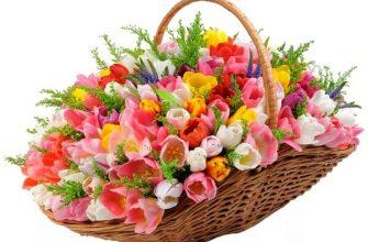 Как оформить цветочную корзину